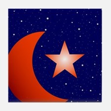 Crescent Moon and Star Studded Sky Tile Coaster