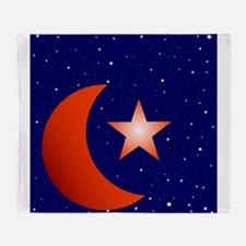 Crescent Moon and Star Studded Sky Throw Blanket