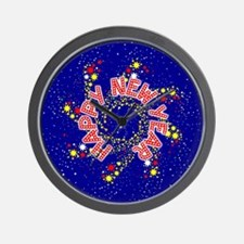 Happy New Year Pin Wheel Wall Clock