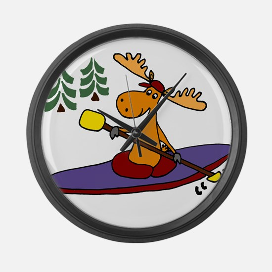 Kayaking Moose Large Wall Clock