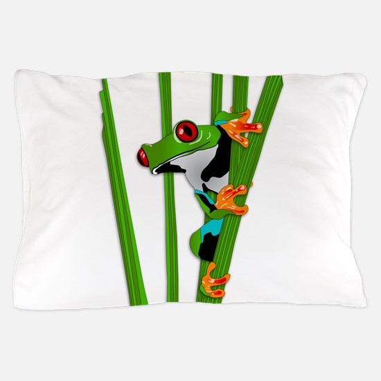 Cute frog on grass Pillow Case
