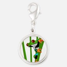 Cute frog on grass Charms