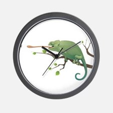 Chameleon catching insect Wall Clock