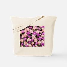 Bed of Roses - pink and lilac ribbon roses rectang