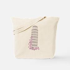 Beautiful floral leaning tower of pisa Tote Bag