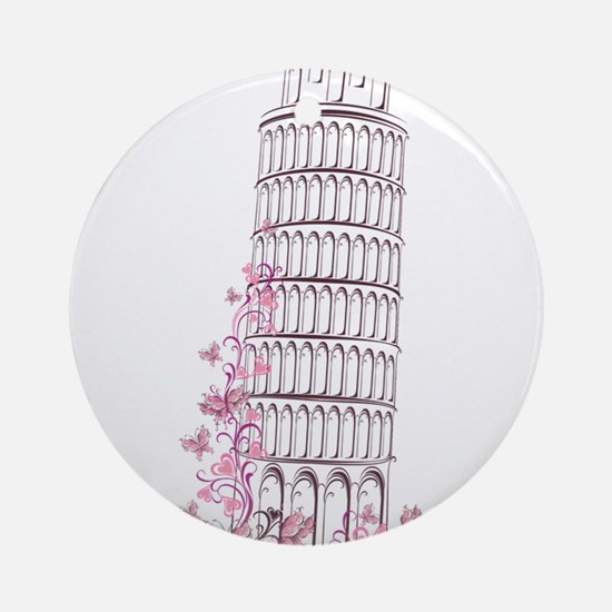 Beautiful floral leaning tower of p Round Ornament
