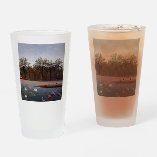The Flamingos Drinking Glass