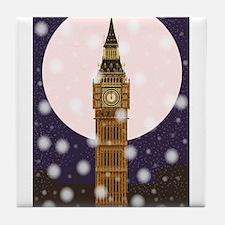 London Christmas Eve Tile Coaster