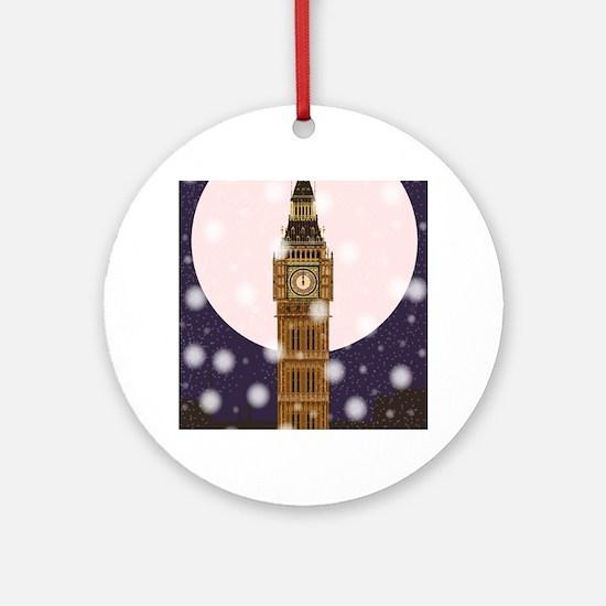 London Christmas Eve Round Ornament