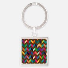 Cheveron, V Pattern. Tan, Red, Black, Teal, Purple