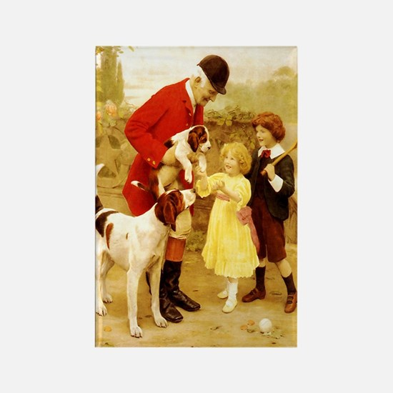 VINTAGE DOG ART: HUNTER, FOXHOUNDS... Rectangle Ma