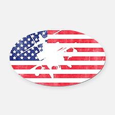 American Flag Apache T-shirt Oval Car Magnet