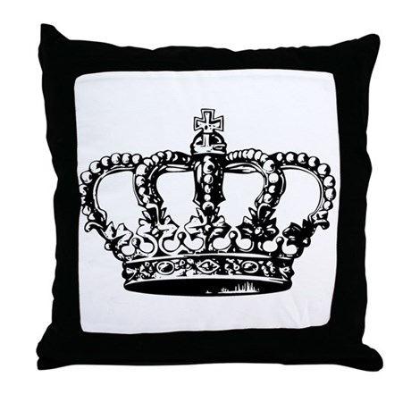 Black Crown Throw Pillow by artegrity