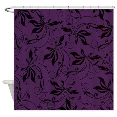 Deep Purple Black Swirl Shower Curtain By Admin CP133666635