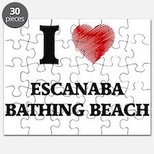 I love Escanaba Bathing Beach Michigan Puzzle