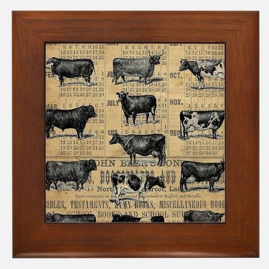 Cool Vintage farm Framed Tile