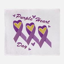 Purple Heart Day Throw Blanket