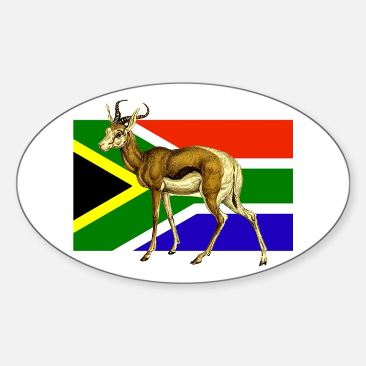 South Africa Springbok Flag Sticker (Oval)