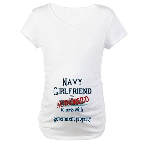 Navy Girlfriend Authorized Maternity T-Shirt