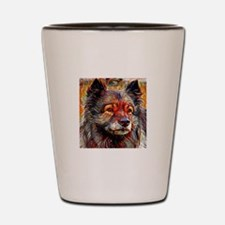 Keeshond: A Portrait in Oil Shot Glass