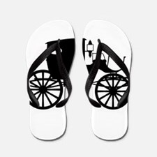 Old Carriage Silhouette Flip Flops