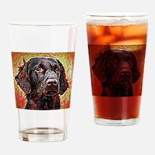 Flat Coated Retriever: A Portrait i Drinking Glass