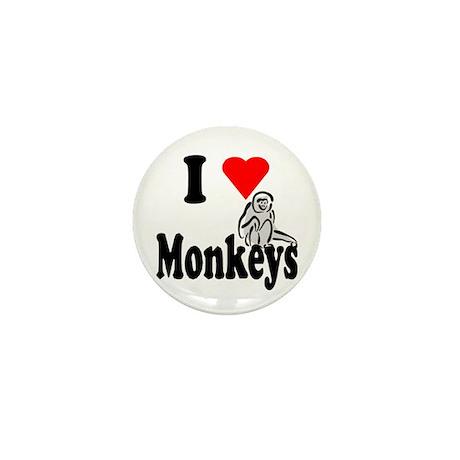I Heart Monkeys Mini Button