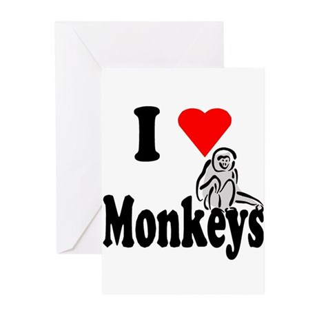 I Heart Monkeys Greeting Cards (Pk of 10)
