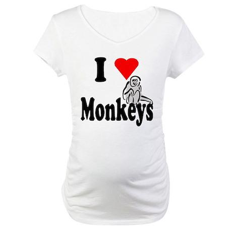 I Heart Monkeys Maternity T-Shirt