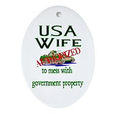 USA Wife Authorized Oval Ornament