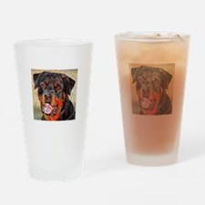 Rottweiler: A Portrait in Oil Drinking Glass