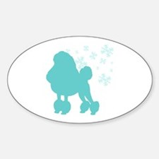 Poodle Snowflake Oval Decal