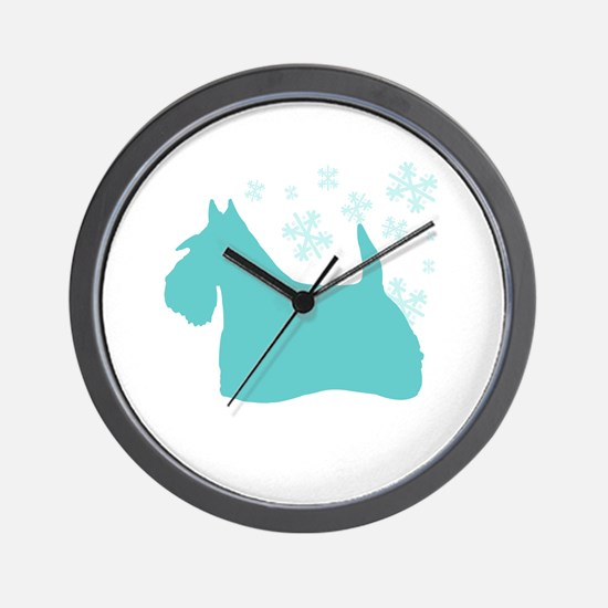 Scottie Snowflake Wall Clock