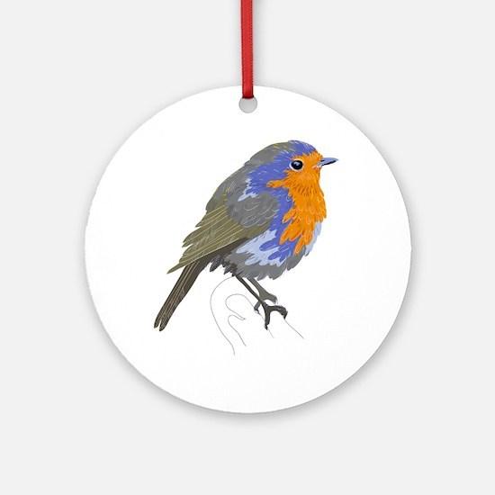 Chaffinch bird on twig art Round Ornament