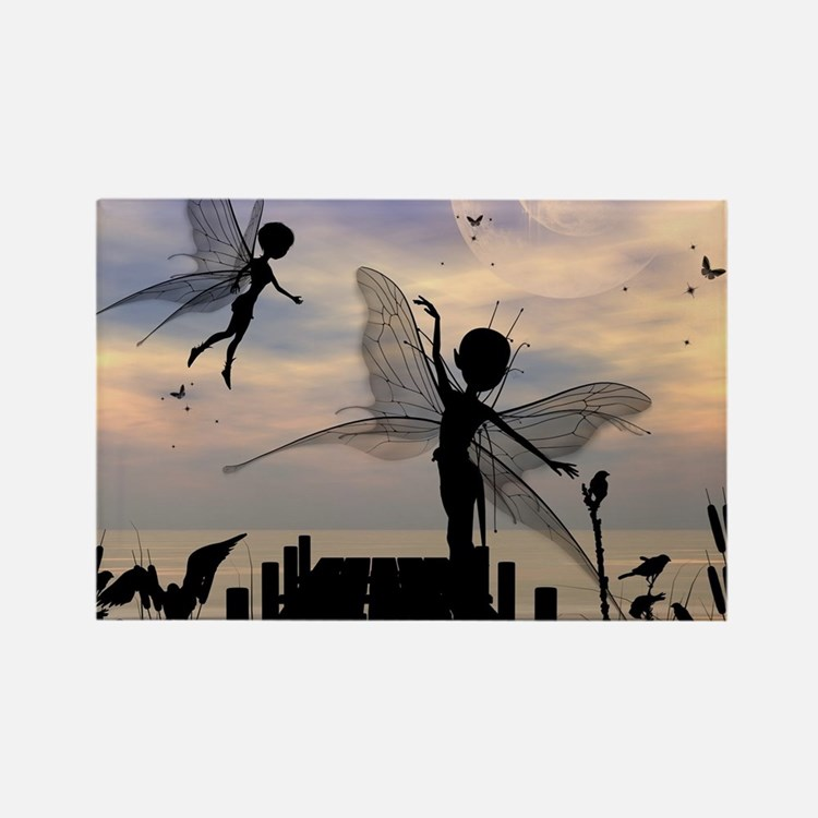 Cute fairy dancing on a jetty Magnets
