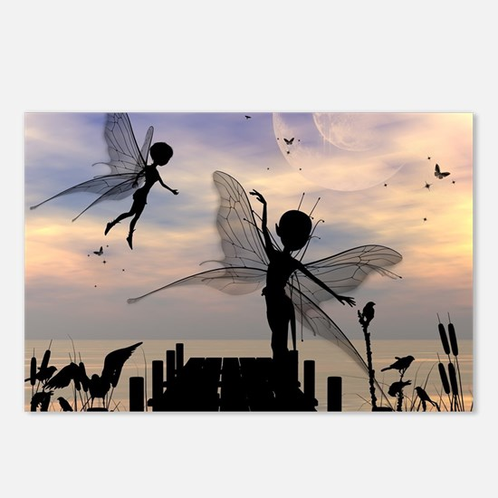 Cute fairy dancing on a jetty Postcards (Package o