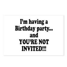 Birthday Party; Not Invited Postcards (Package of