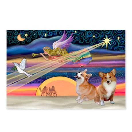 Xmas Star/2 Corgis (P2) Postcards (Package of 8)