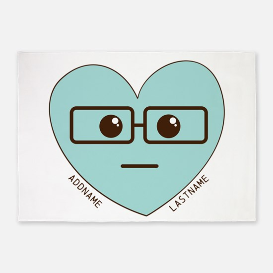 Emoji Heart Face Gift Personalized Nerd 5'x7'Area