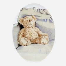 Lonely Teddy Oval Ornament