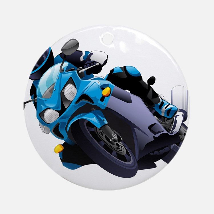 Motorcycle racer design Round Ornament