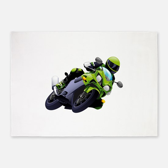 Motorcycle racer sliding 5'x7'Area Rug