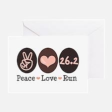 Peace Love Run 26.2 Marathon Greeting Card