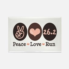Peace Love Run 26.2 Marathon Rectangle Magnet (10