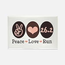 Peace Love Run 26.2 Marathon Rectangle Magnet