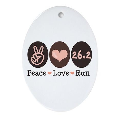 Peace Love Run 26.2 Marathon Oval Ornament