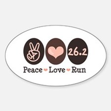 Peace Love Run 26.2 Marathon Oval Decal