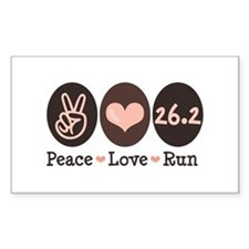 Peace Love Run 26.2 Marathon Rectangle Decal