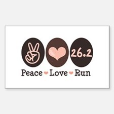 Peace Love Run 26.2 Marathon Rectangle Decal
