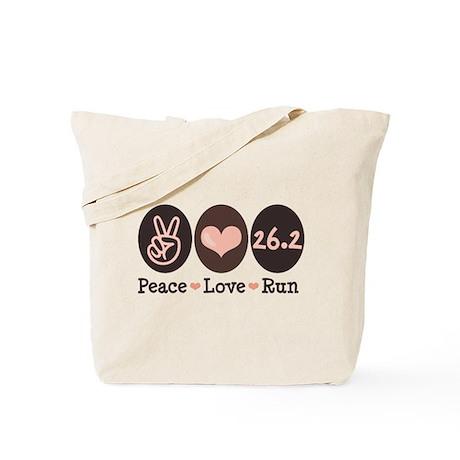 Peace Love Run 26.2 Marathon Tote Bag